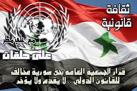 """قرار الجمعية العامة بحق سورية مخالف للقانون الدولي """"لا يقدم ولا يؤخر"""""""