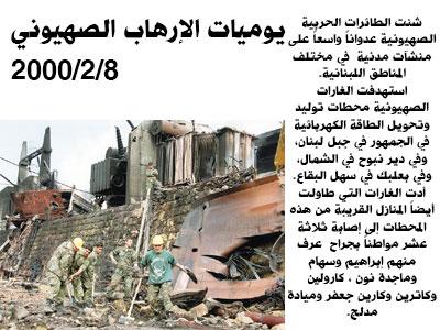 يوميات الإرهاب الصهيوني: غارات على المحطات الكهربائية عام 2000