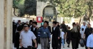 مستوطنون يهود يقتحمون المسجد الأقصى وسط حراسة الشرطة الإسرائيلية.