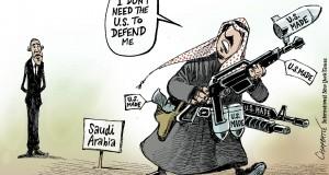 """كاريكاتير نيويورك تايمز.. الحاكم السعودي المدجج بالأسلحة الأمريكية إلى حرب اليمن مخاطباً أوباما: """"لا أحتاج لأمريكا لتدافع عني""""!"""
