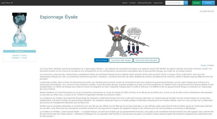 صورة من موقع ويكيليكس حول عملية التجسس على القصر الرئاسي الفرنسي