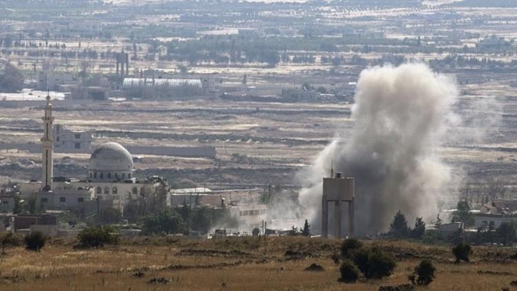 مشهد لمعارك في الجانب السوري من هضبة الجولان