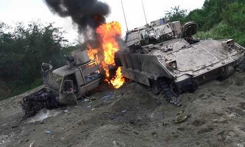 تدمير آليات للعدوان السعودي من قبل الجيش اليمني واللجان الشعبية