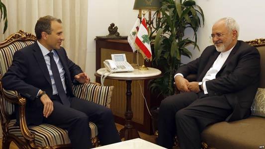 ظريف خلال لقاء مع باسيل في بيروت ـ من الارشيف