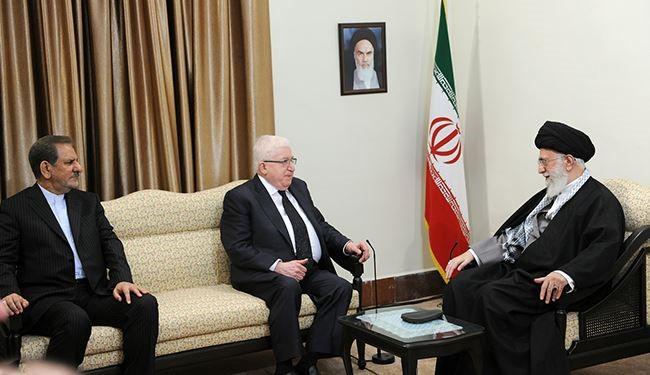 قائد الثورة الإسلامية آية الله السيد علي خامنئي يستقبل الرئيس العراقي فؤاد معصوم
