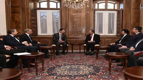 الرئيس الأسد مع وفد فرنسي