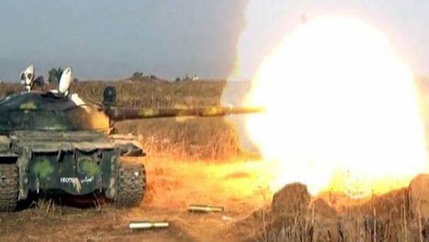دبابة سورية في مدينة الحاضر