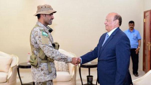 لقاء الرئيس الفار عبد ربه منصور هادي بقائد القوات الخاصة السعودي عبدالله السهيان الذي قتل أمس