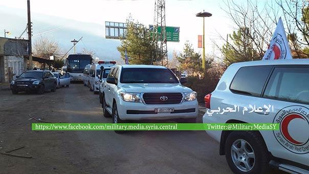 سيارات الصليب الأحمر تدخل الى الزبداني لنقل المسلحين