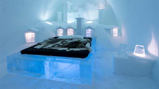 فندق الجليد في السويد تحفة فنية تبنى كل عام