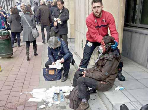 من اثار الهجمات الارهابية الاخيرة في بروكسل البلجيكية