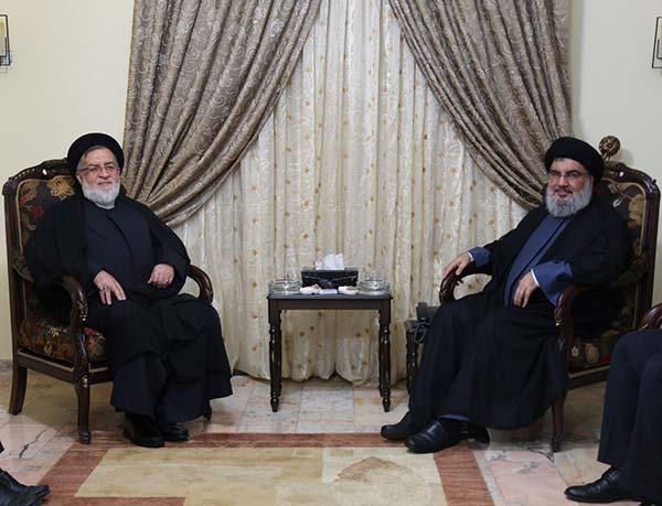 السيد نصر الله مستقبلاً معاون رئيس الجمهورية الاسلامية الايرانية