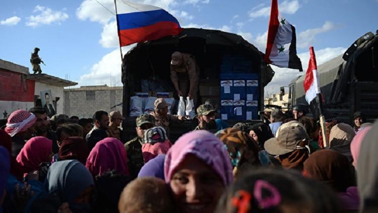 توزيع المساعدات الإنسانية الروسية على سكان حلب