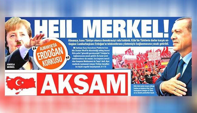 صحيفة تركية تنشر صورة لميركل بشارب هتلر