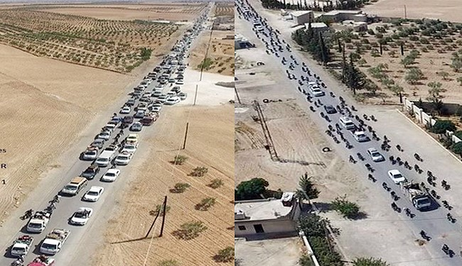 """صور لاستخدام """"داعش"""" دروعا بشرية للخروج من منبج"""