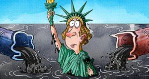 كاريكاتور من #الصين : الديموقراطية الأميركية المهددة بالانقراض