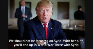#ترامب: سياسة #كلينتون في #سوريا ستقود لحرب عالمية ثالثة