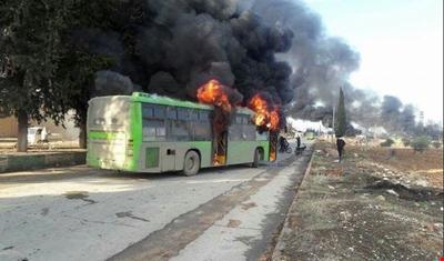 حافلات جديدة إلى كفريا والفوعة بعد حرق 7 حافلات على يد جبهة النصرة