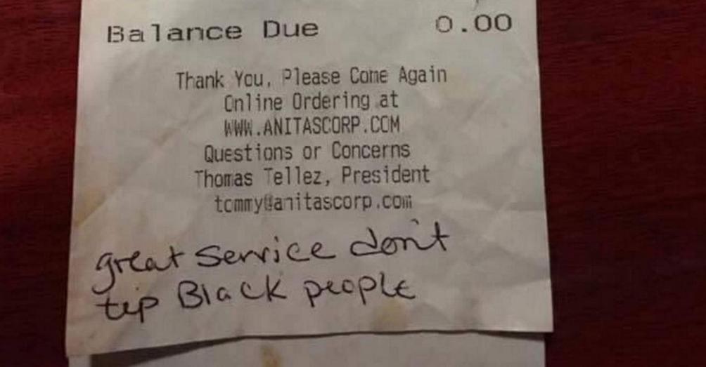 """""""لا ندفع بقشيشا للسود"""".. رسالة عنصرية تثير المواقع الاجتماعية"""