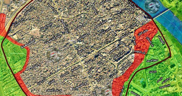 خارطة توضح المناطق المستعادة بالموصل حتى صباح اليوم