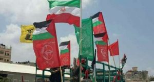أهالي غزة يرفعون أعلام ايران وحزب الله