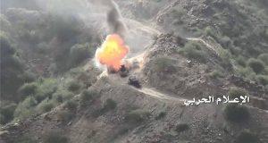 احراق آلية وقصف مدفعي يستهدف تجمعات للجيش السعودي ومرتزقته بنجران