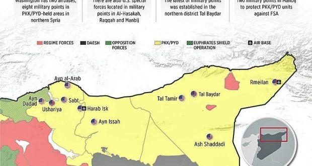 بالخريطة.. تركيا تكشف مواقع أميركية سريّة في سوريا