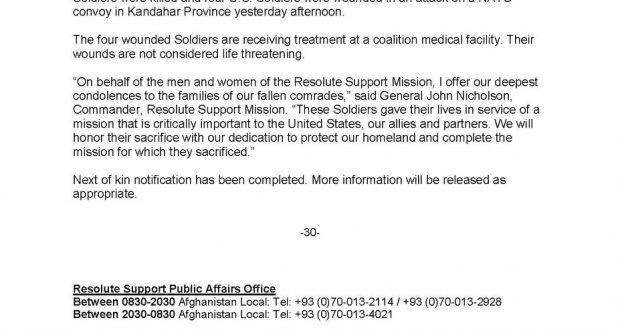 مقتل جنديين أميركيين وإصابة 4 آخرين في هجوم على موكب الناتو بقندهار