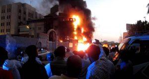 نشوب حريق هائل وسط مدينة جدة السعودية